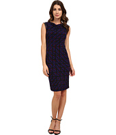 Anne Klein - Muir Jersey Draped Dress with Faux Leather