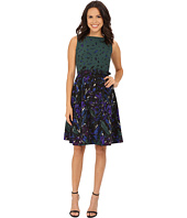 Anne Klein - Printed Twill Boat Neck Fit & Flare with Belt Dress