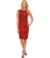 Anne Klein - Printed Jersey Draped Dress with Faux Leather