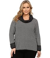 Calvin Klein Plus - Plus Size Cowl Neck w/ Grid Stripe