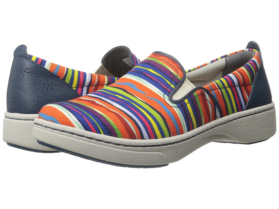 Dansko Belle Multi Striped Canvas Womens Slip on Shoes