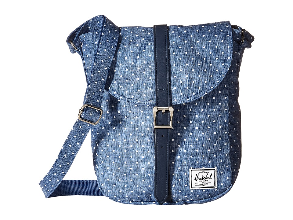 Herschel Supply Co. Kingsgate Limoges Crosshatch/White Polka Dot/Navy Synthetic Leather Backpack Bags