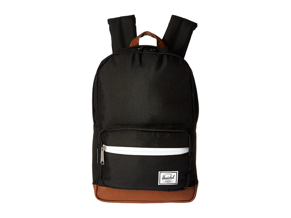 Herschel Supply Co. - Pop Quiz Kids (Black/Tan Synthetic Leather) Backpack Bags