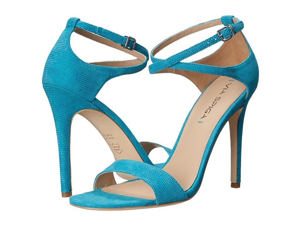 Via Spiga - Tiara (Caribbean Blue Dotted Suede Leather) High Heels