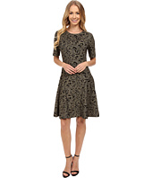 Vince Camuto - Short Sleeve Brocade Knit A-Line Dress