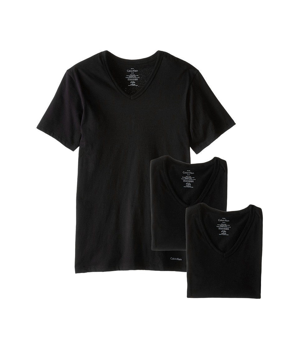 Calvin Klein Underwear Short Sleeve Cotton Classic Slim Fit V-Neck 3-Pack (Black) Men