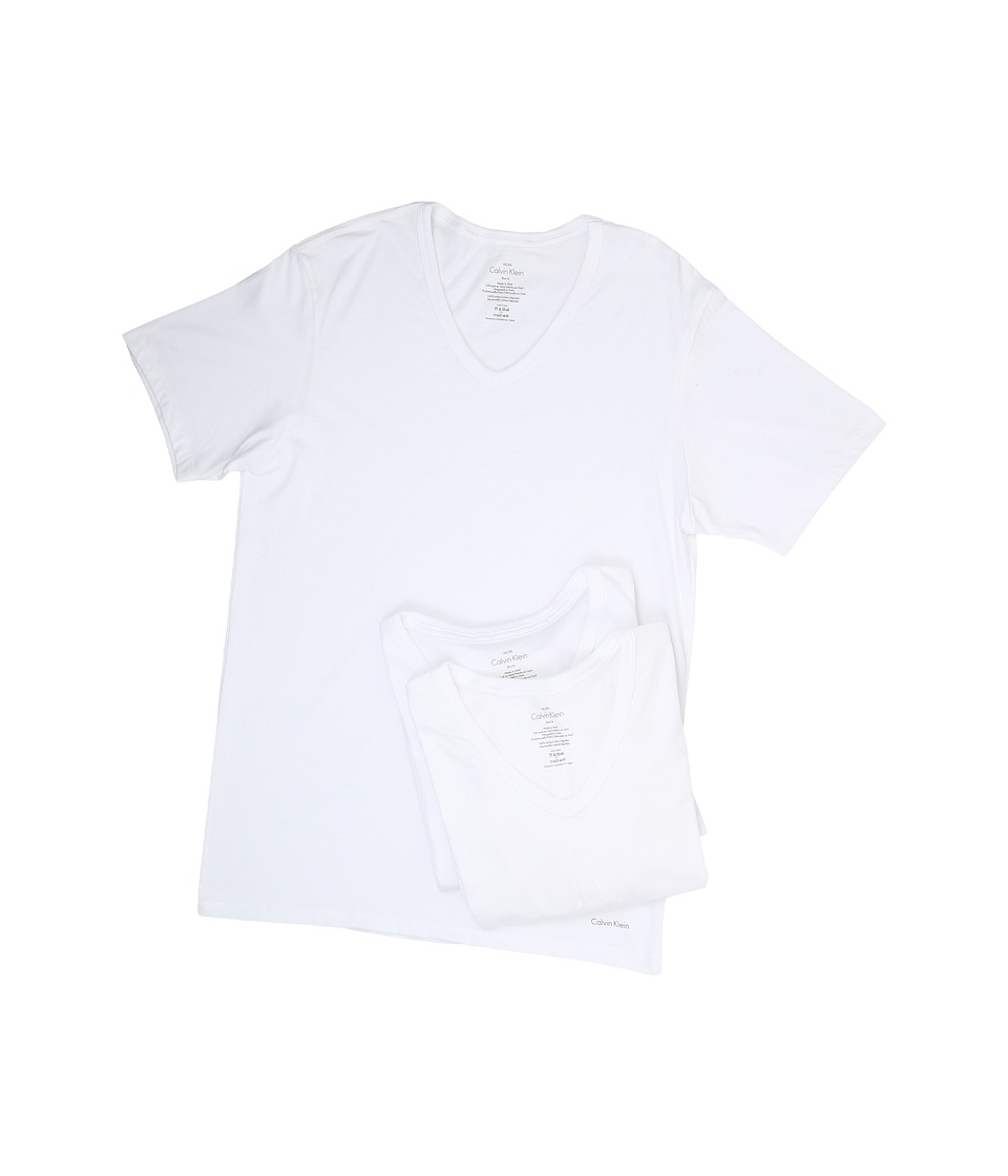 Calvin Klein Underwear Short Sleeve Cotton Classic Slim Fit V-Neck 3-Pack (White) Men