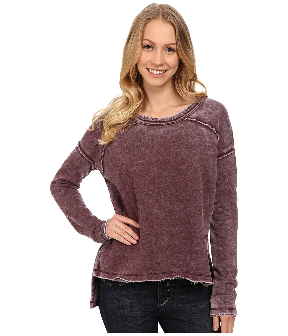 Mod o doc Burnout Wash Fleece Easy Seamed Raw Edge Pullover Burgundy Noir Womens T Shirt
