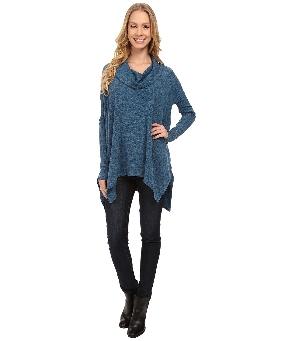 Mod o doc Heather Sweater Long Sleeve Cowl Neck Pullover w/ Contrast Sleeve Baltic Womens Long Sleeve Pullover