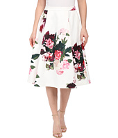 Vince Camuto - A-Line Rose Bouquet Skirt w/ Front Pleats