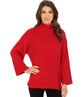 Vince Camuto - Elbow Sleeve Mix Rib Turtleneck Sweater