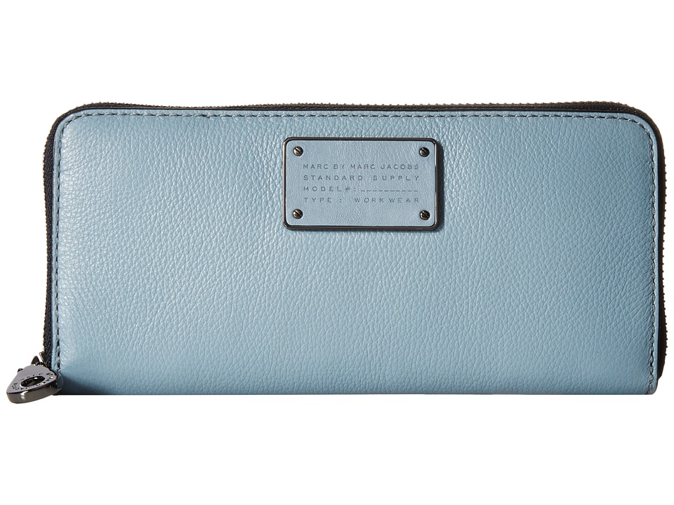 Marc by Marc Jacobs New Too Hot To Handle Small Leather Goods Slim Zip Around Ice Blue Wallet