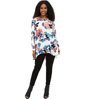 Vince Camuto Plus - Plus Size Long Sleeve Floral Garden High-Low Hem Blouse