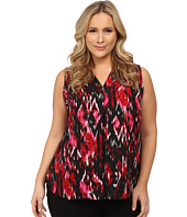 Vince Camuto Plus - Plus Size Sleeveless Ikat Flicker Blouse with Inverted Pleat