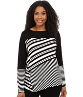 Vince Camuto Plus - Plus Size Long Sleeve Misdirections Retro Stripe Top
