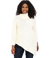 Vince Camuto Plus - Plus Size Long Sleeve Asymetrical Hem Turtleneck Mix Cable Sweater