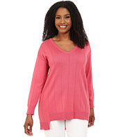 Vince Camuto Plus - Plus Size Long Sleeve V-Neck Asym Hem Drop Needle Sweater