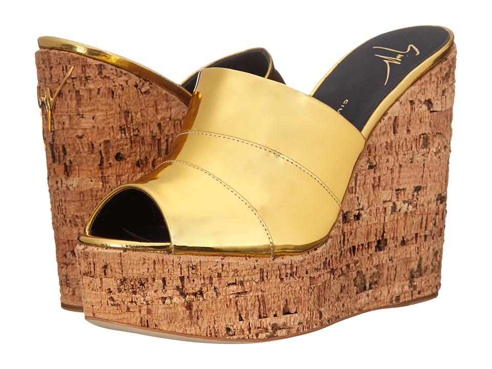 Giuseppe Zanotti Open Toe Slip On Wedge Shooting Oro Womens Shoes