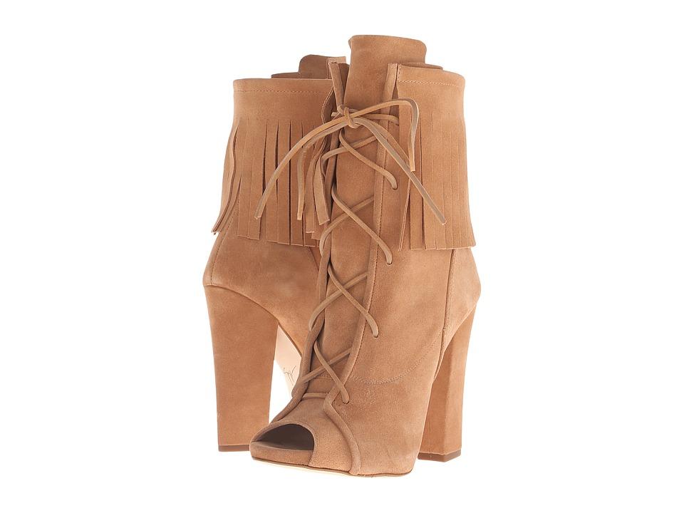 Giuseppe Zanotti Peeptoe Fringe Lace Up Velour Plasmon Womens Shoes