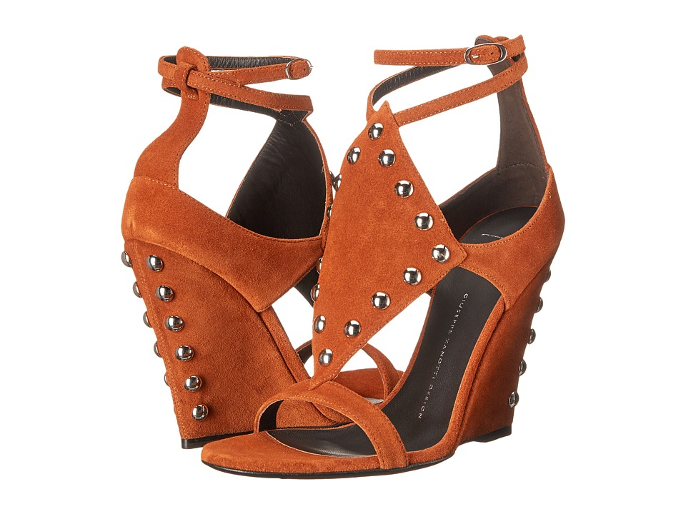 Giuseppe Zanotti Wedge Sandal w/ Studs Velour Cotto Womens Shoes