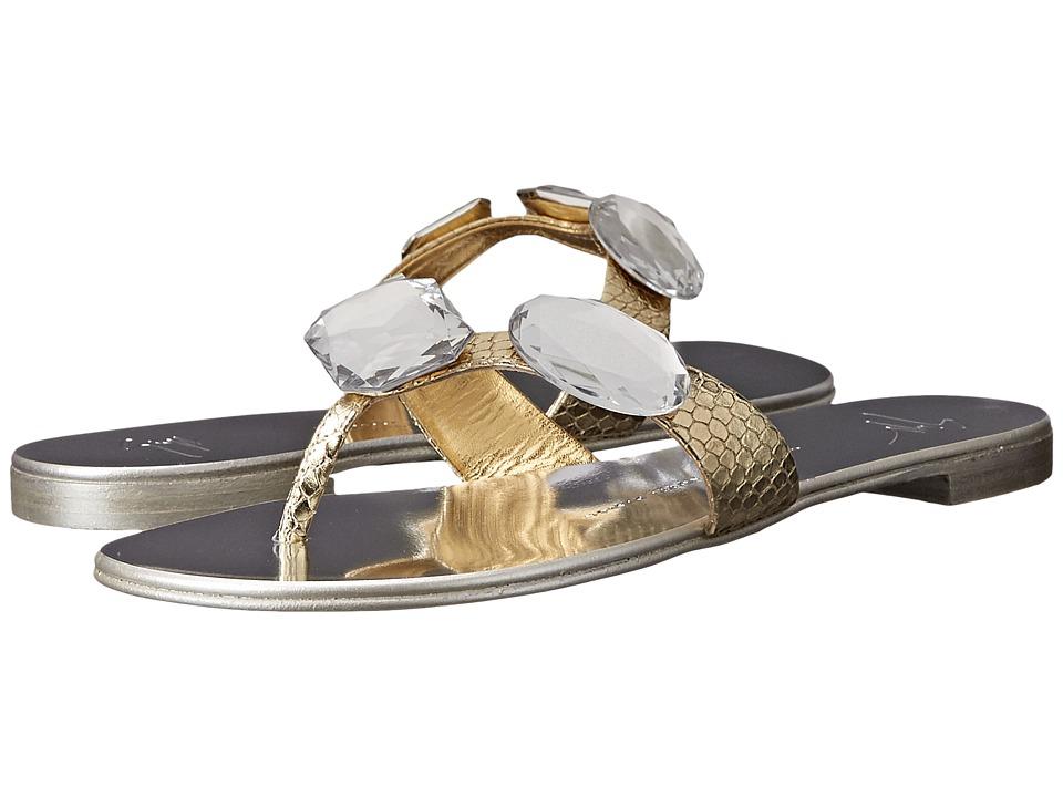 Giuseppe Zanotti Flat Jeweled Thong Sandal Bloods Oro Womens Toe Open Shoes