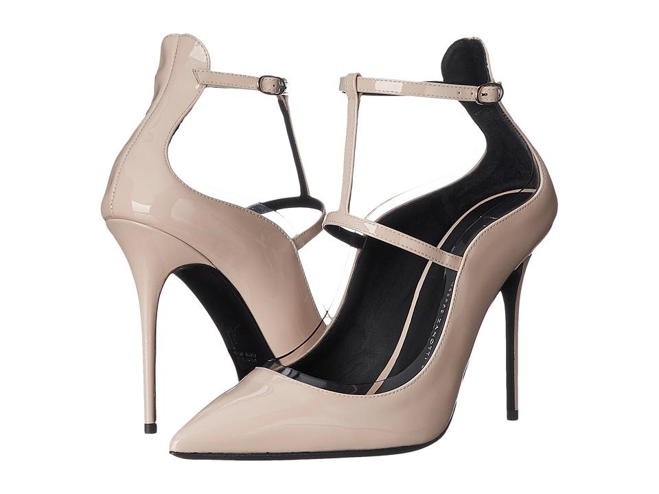 Giuseppe Zanotti T Strap Pump w/ PVC Trim Ver Sand Womens Shoes
