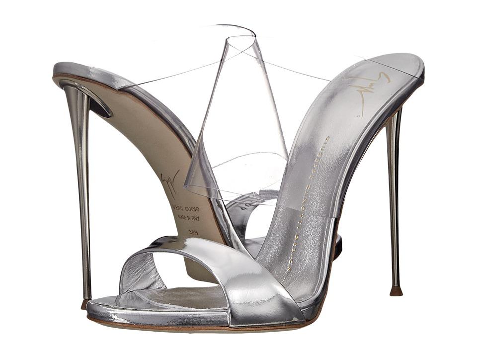 Giuseppe Zanotti Transparent Strap Slide Shooting Argento Womens Slide Shoes