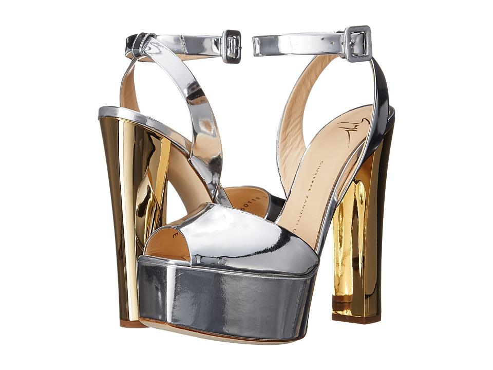 Giuseppe Zanotti Metallic Chunky Heel Sandal Shooting Argento Womens Shoes