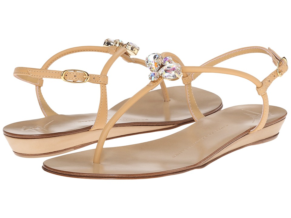 Giuseppe Zanotti Demi Wedge Sandal with Crest Birel Crema Womens Shoes
