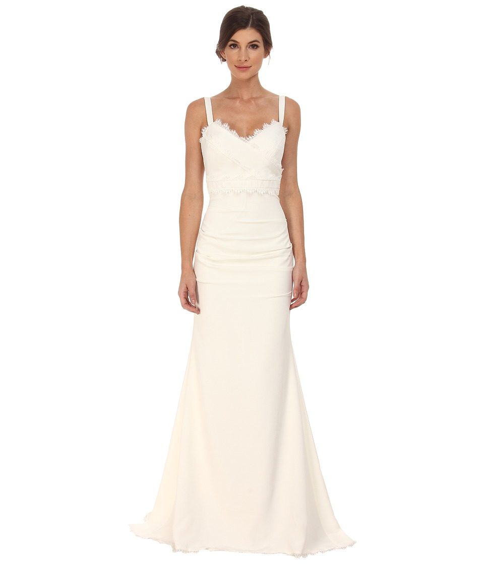 Nicole Miller - Tonya Stretch V-Neck Gown (Antique White) Womens Dress