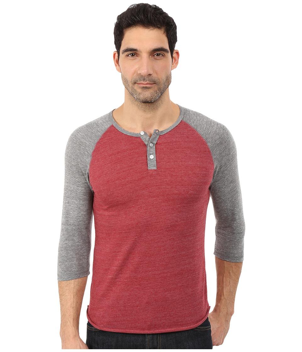 Alternative Raglan Henley Eco True Carmine Mens Clothing