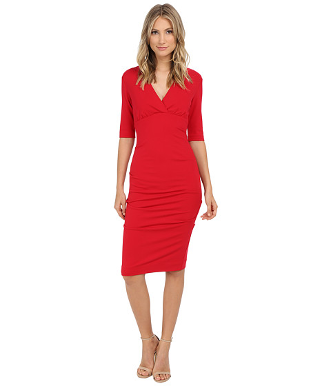 Nicole Miller Joss Ponte Ruched Dress - Lipstick Red