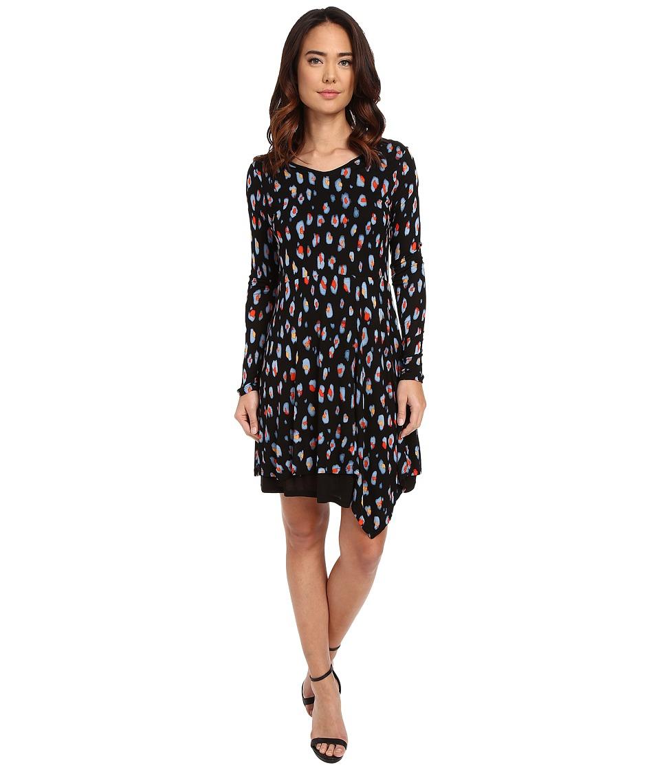 kensie Watercolor Spots Dress KS1K7881 Black Combo Womens Dress