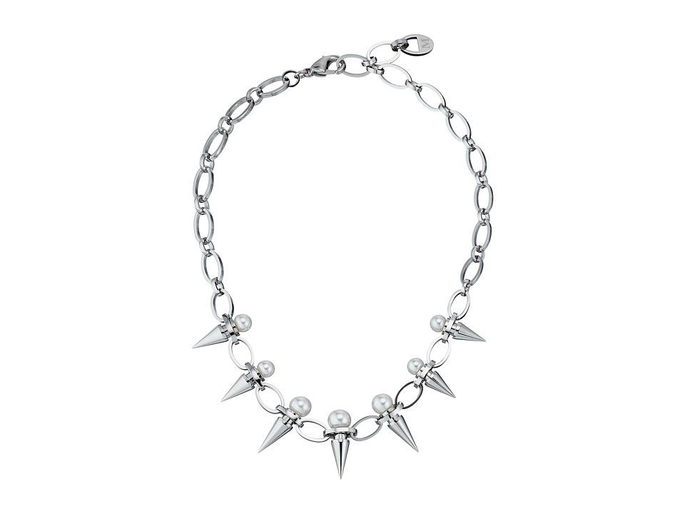 Majorica Spiked Pearl Collar Necklace Silver/White Necklace
