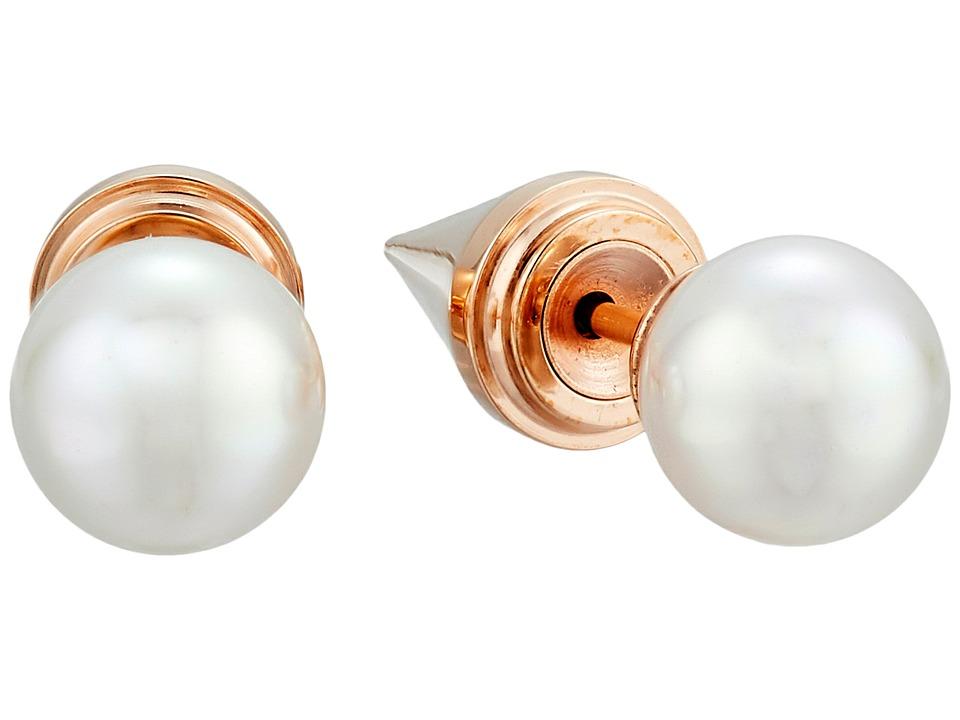 Majorica Spiked Back Pearl Stud Earrings Rose/White Earring