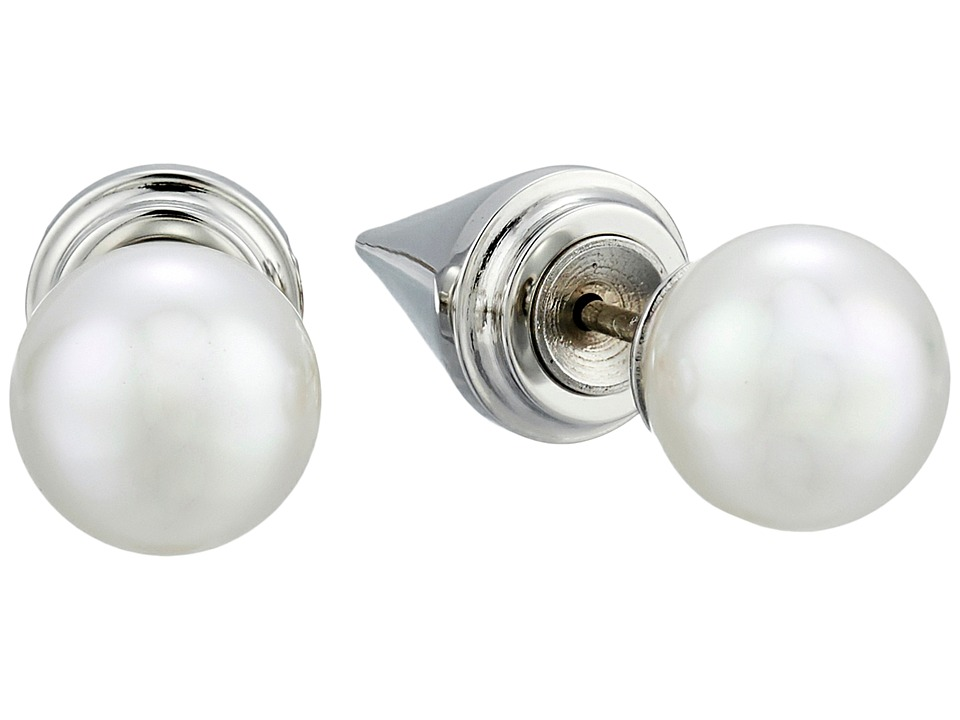 Majorica Spiked Back Pearl Stud Earrings Silver/White Earring