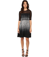 Adrianna Papell - Illusion Sleeve and Yoke Fit & Flare Dress