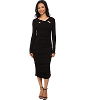Adrianna Papell - Scoop Neck Long Sleeve Shirred Dress