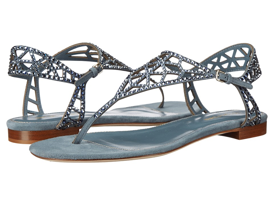 Sergio Rossi Tresor Silk Denim Womens Shoes