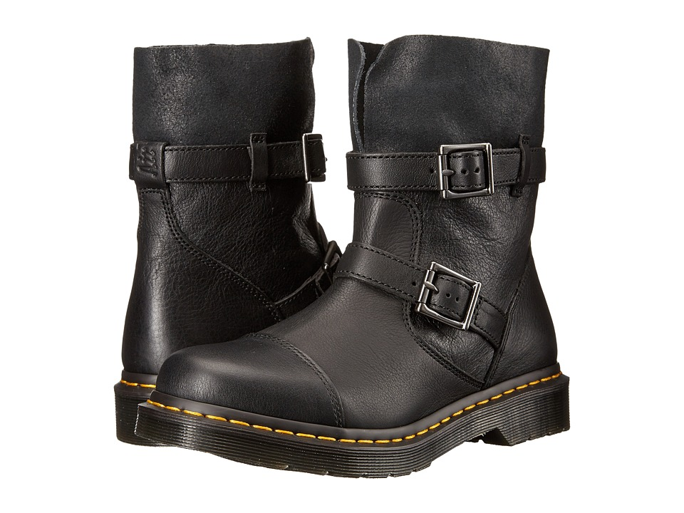 Dr. Martens Kristy Slouch Rigger Boot (Black/Virginia Darkend Suede) Women