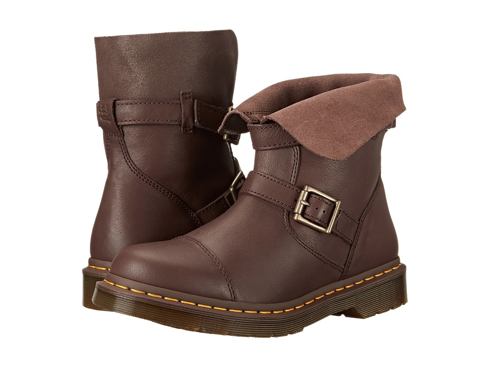 Dr. Martens Kristy Slouch Rigger Boot Dark Brown Virginia/Darkened Suede Womens Pull on Boots