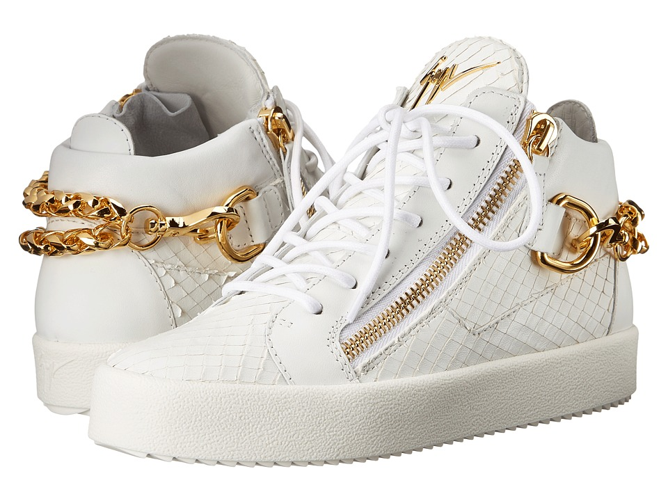 Giuseppe Zanotti Back Chain Double Zip Sneaker Gladio Bianco Womens Shoes