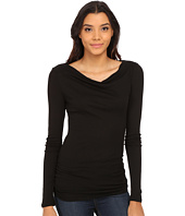 Michael Stars - Slub Long Sleeve Drape Neck w/ Shirring