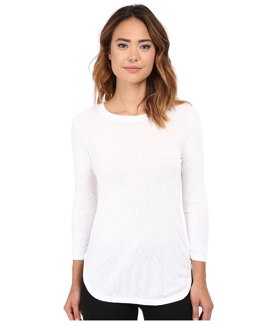 Michael Stars Slub 3/4 Sleeve Crew Neck (White) Women