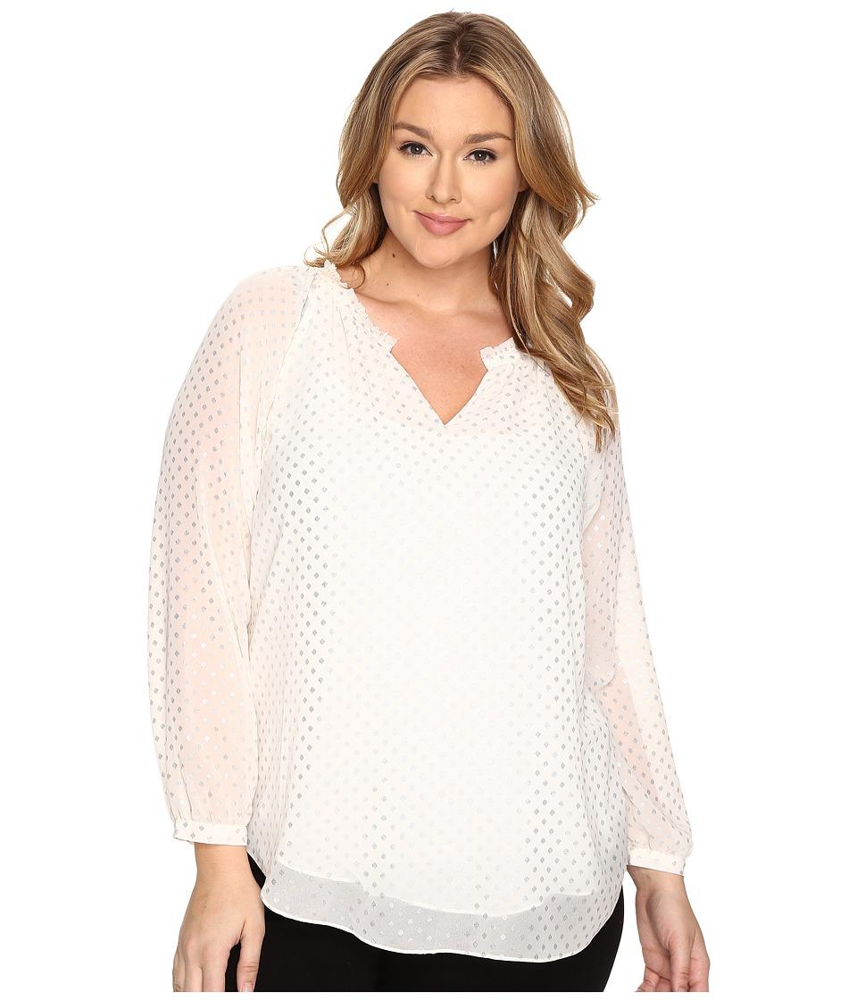 NYDJ Plus Size - Plus Size Mixed Prints Top (Winter White) Women's Clothing plus size,  plus size fashion plus size appare