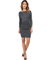 Michael Stars - Shine 3/4 Sleeve Wide Neck Dress w/ Shirring