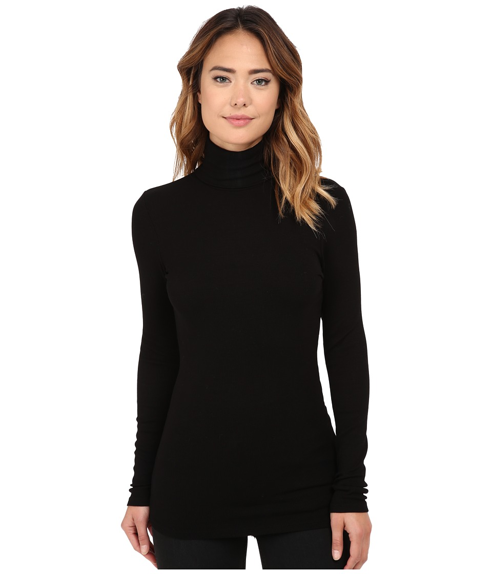 Michael Stars 2x1 Rib Long Sleeve Turtleneck Black Womens Clothing