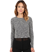 Michael Stars - Tweed Knit Long Sleeve Crew Neck w/ Chiffon