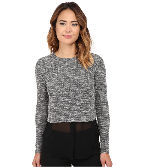 Michael Stars Tweed Knit Long Sleeve Crew Neck w/ Chiffon