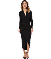 Michael Stars - Long Sleeve Vee Neck Long Dress w/ Shirring